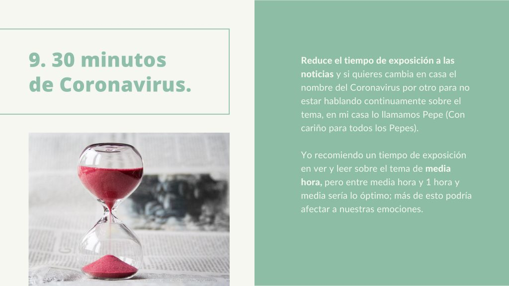 Información coronavirus 30 minutos. Terapia online. Terapiayemoción
