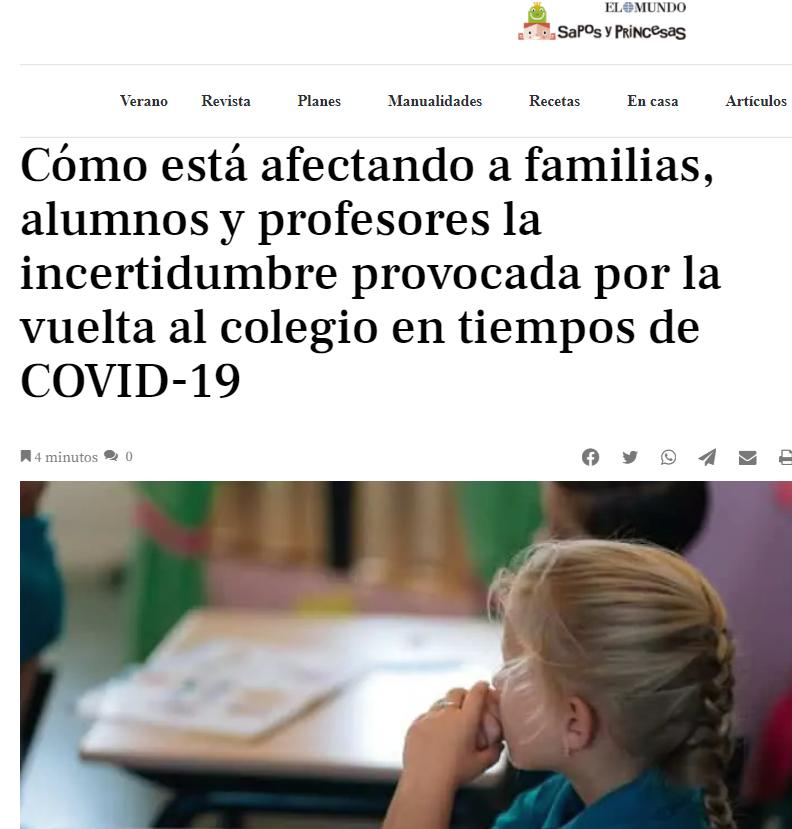 Artículo Terapiayemoción - La vuelta al colegio. Psicólogos Madrid medios de comunicación